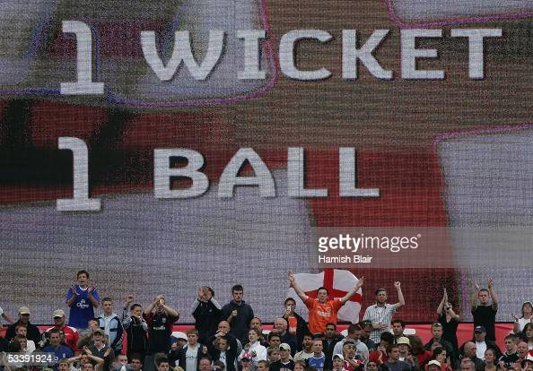 The screen shows the situation with one ball left and England chasing one final wicket during day five of the Third npower Ashes Test between England...