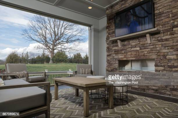 The Screened in Porch on the Tradition Model at Regency at Creekside on March 28 2017 in Gainesville Virginia