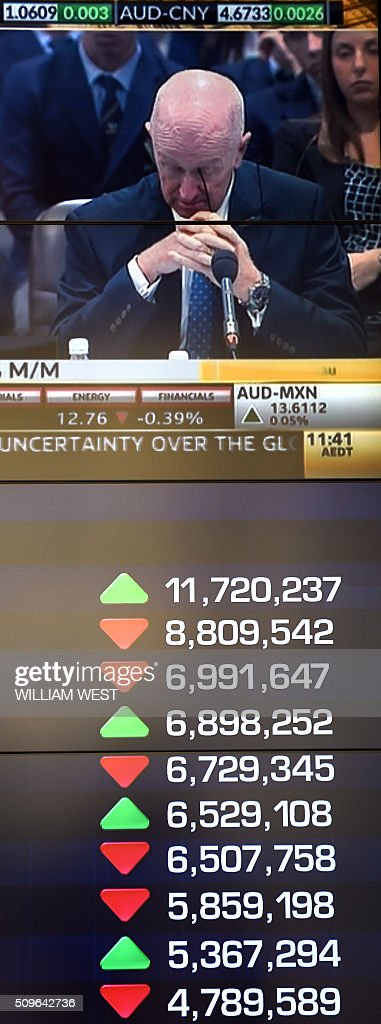 The screens at the Australian Securities Exchange (ASX) shows movement during early trading in Sydney on February 12, 2016. The Australian market has been under pressure this week due to concerns of a global recession. AFP PHOTO / WILLIAM WEST / AFP / WILLIAM WEST