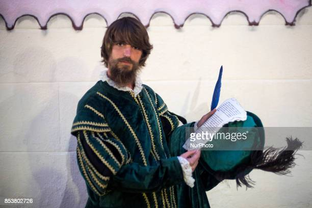 The scribe that accompanies the monarch Carlos V is one of the main characters of the representation of the last disembarkation of Carlos V because...