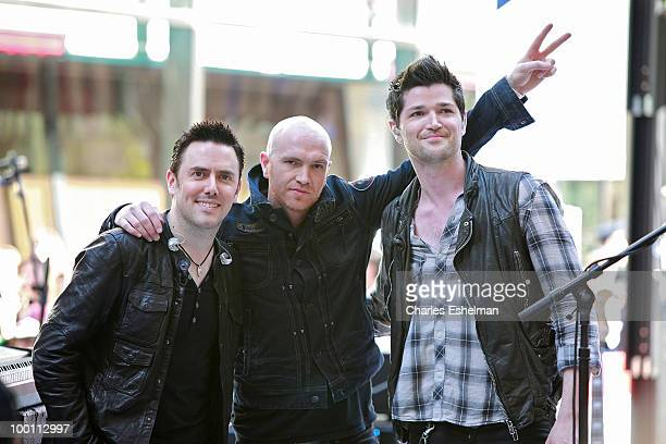 'The Script' band members drummer Glen Power guitarst Mark Sheehan and singer/songwriter Danny O'Donoghue perform on NBC's 'Today' show summer...