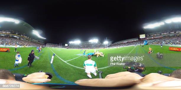 The scrum packs down during the round eight Super Rugby match between the Blues and the Hurricanes at Eden Park on April 15 2017 in Auckland New...