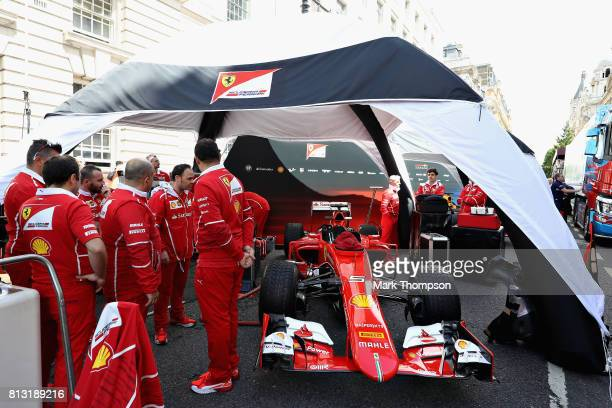 The Scuderia Ferrari team setup during F1 Live London at Trafalgar Square on July 12 2017 in London England F1 Live London the first time in Formula...