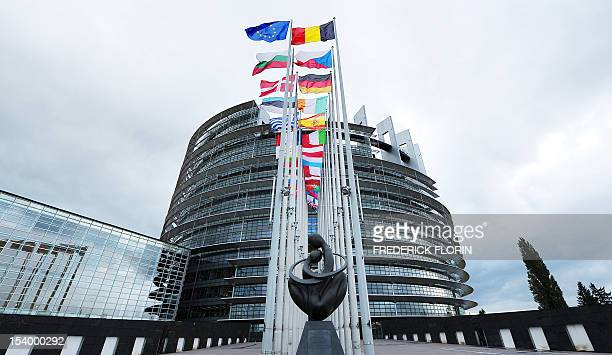 The sculpture 'Europe a Coeur' by artist Ludmila Tcherina is seen in front the European Parliament on October 12 2012 in Strasbourg eastern France...