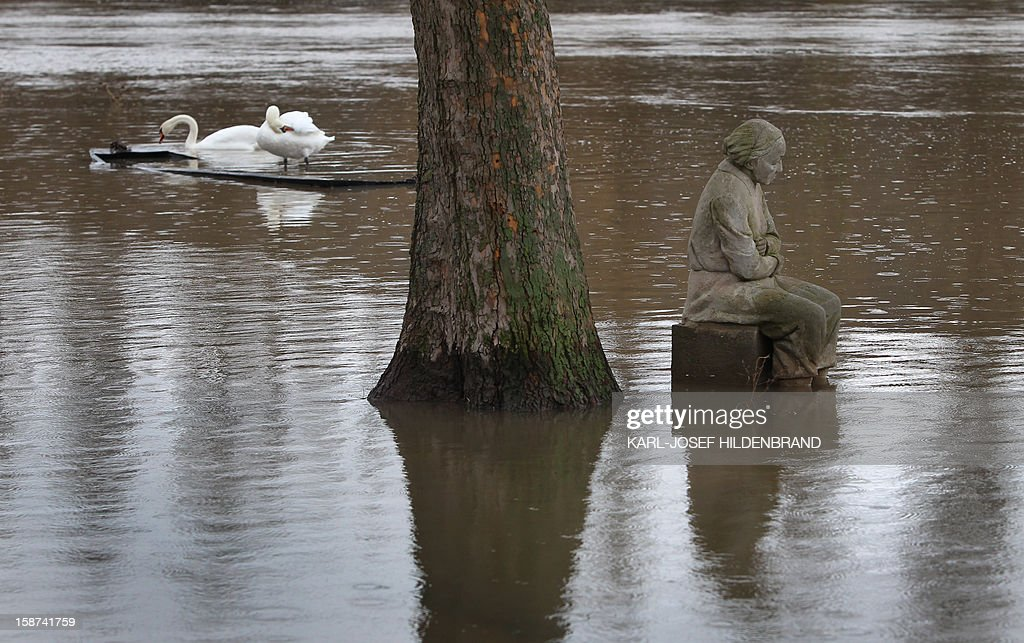 The sculpture 'Faehr-Oma' (ferry grandma) is flooded by the river Main on December 27, 2012 in Frickenhausen, southern Germany. Due to melting snow and rainfall, the Main burst its banks.