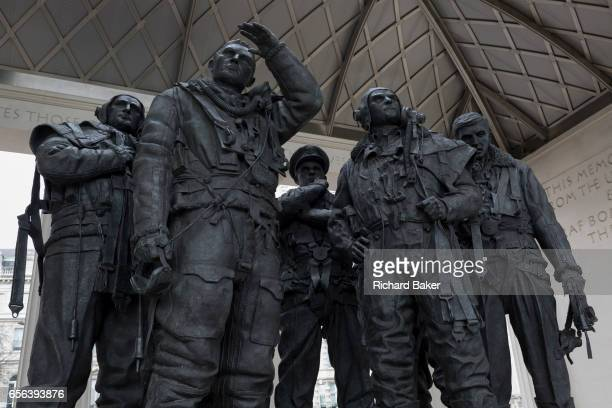 The sculpture forming the Bomber Command War Memorial on 16th March 2017 in Green Park London England The 9foot bronze sculpture of seven aircrew...