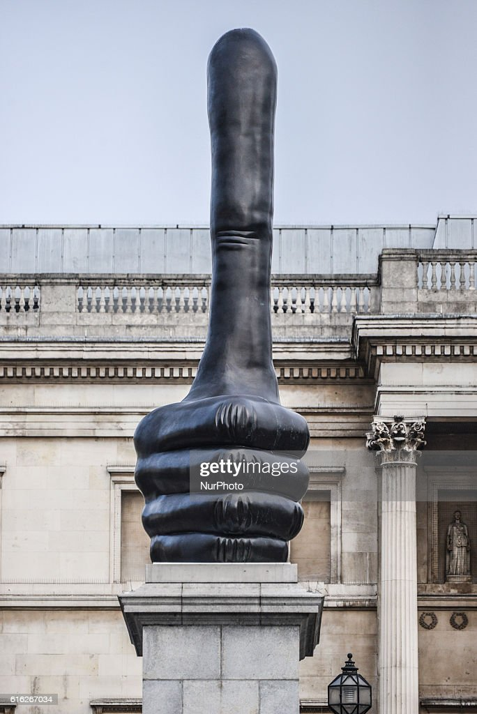 The sculpture 'Really Good', by David Shrigley, stands on the fourth plinth of Trafalgar Square on October 22, 2016 in London, England.