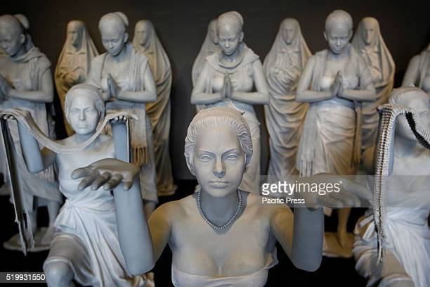 The sculpture seen during exhibition by Indonesian artist Purjito at National Gallery in Jakarta during Christmas holiday
