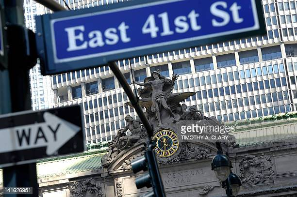 The sculpture 'Transportation' by French artist JulesAlexis Coutanat is seen atop the facade of Grand Central Terminal before a press conference...
