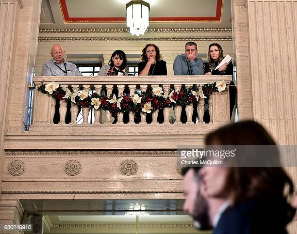 The SDLP delegation are watched during a press conference by Stormont officials as they hold a press conference regarding the RHI crisis at Stormont...