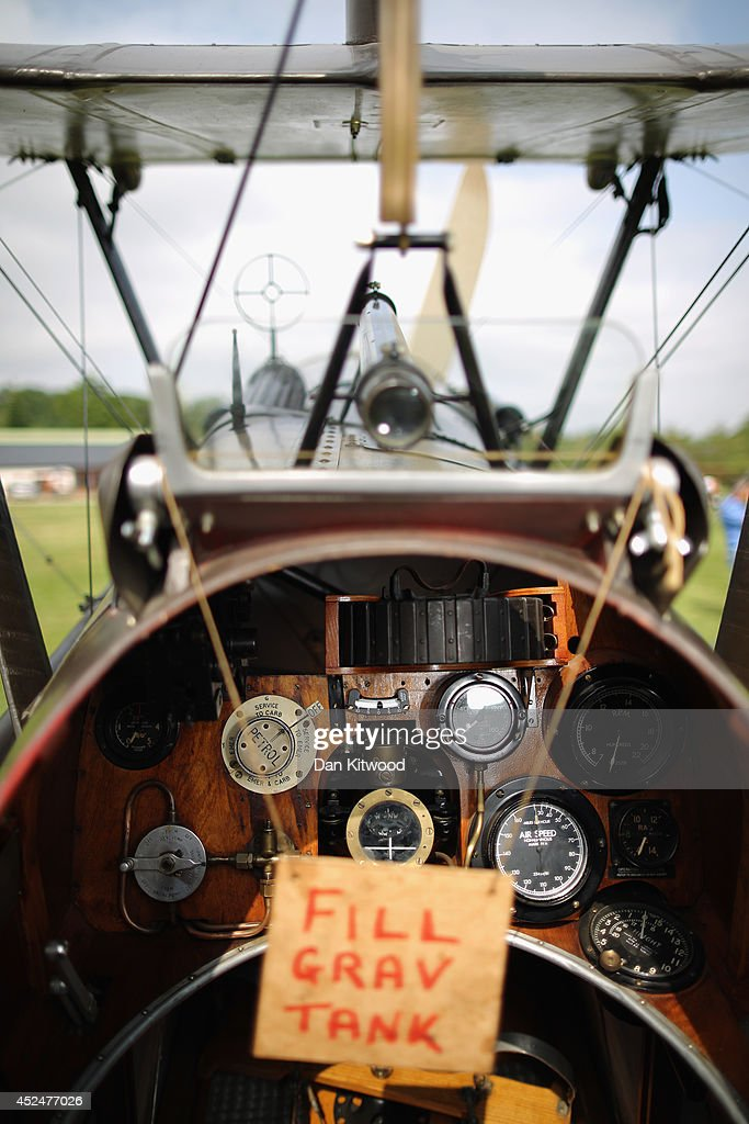 The SE5a is displayed at 'The Shuttlesworth Collection' at Old Warden on July 21, 2014 in Biggleswade, England. Of the 55,000 planes that were manufactured by the Royal Army Corps (RAC) during WWI, only around 20 remain in airworthy condition. Six of these belong to The Shuttleworth Collection at Old Warden, Bedfordshire, making it the most complete collection of original airworthy WWI aircraft in the world. Amongst the collection is the SE5a. The SE5a is a single seater fighter aircraft. It is an original biplane designed by the Royal Aircraft Factory, with its engine built by Wolseley Motors Ltd, and it was issued to 84 Squadron in November 1918. The National Archive in Kew has recently verified that the plane saw action in France with 84 Squadron the day before Armistice, November 10, 1918.