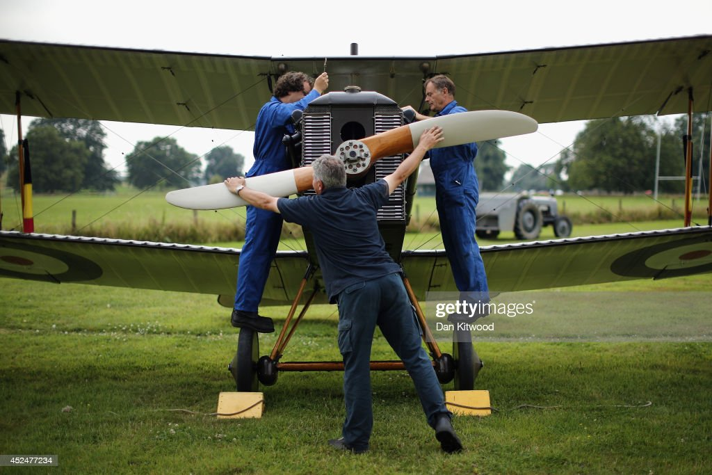 The SE5a is prepared for demonstration flight at 'The Shuttlesworth Collection' at Old Warden on July 21, 2014 in Biggleswade, England. Of the 55,000 planes that were manufactured by the Royal Army Corps (RAC) during WWI, only around 20 remain in airworthy condition. Six of these belong to The Shuttleworth Collection at Old Warden, Bedfordshire, making it the most complete collection of original airworthy WWI aircraft in the world. Amongst the collection is the SE5a. The SE5a is a single seater fighter aircraft. It is an original biplane designed by the Royal Aircraft Factory, with its engine built by Wolseley Motors Ltd, and it was issued to 84 Squadron in November 1918. The National Archive in Kew has recently verified that the plane saw action in France with 84 Squadron the day before Armistice, November 10, 1918.