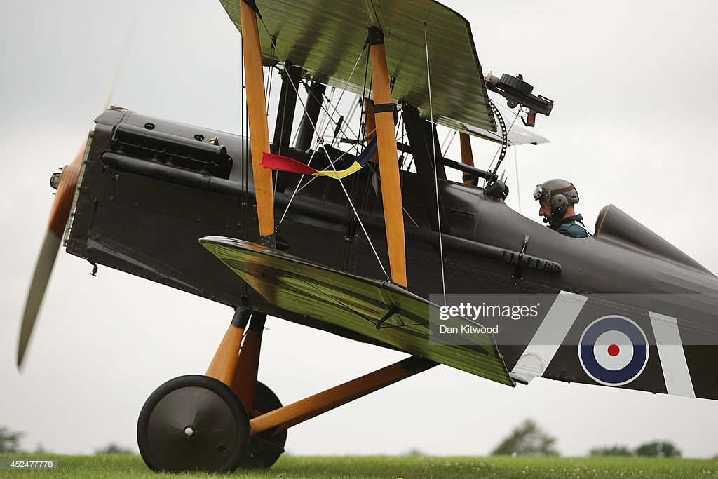 The SE5a takes part in demonstration flight at 'The Shuttlesworth Collection' at Old Warden on July 21, 2014 in Biggleswade, England. Of the 55,000 planes that were manufactured by the Royal Army Corps (RAC) during WWI, only around 20 remain in airworthy condition. Six of these belong to The Shuttleworth Collection at Old Warden, Bedfordshire, making it the most complete collection of original airworthy WWI aircraft in the world. Amongst the collection is the SE5a. The SE5a is a single seater fighter aircraft. It is an original biplane designed by the Royal Aircraft Factory, with its engine built by Wolseley Motors Ltd, and it was issued to 84 Squadron in November 1918. The National Archive in Kew has recently verified that the plane saw action in France with 84 Squadron the day before Armistice, November 10, 1918.