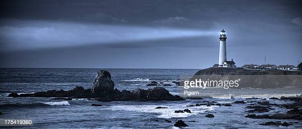 The sea and Pigeon Point Lighthouse, California