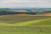 Looking over the South Downs in Sussex towards the sea