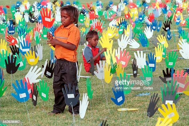 The 'Sea of Hands' at the Yeperenye Festival is a symbol for Australians who support Native Land Title and Reconciliation Over 250000 Australians...