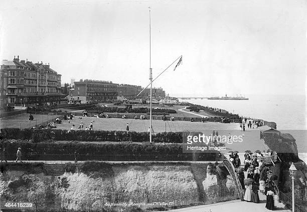The seafront at Cliftonville Margate Kent 18901910 A view of the the seafront at Cliftonville with holidaymakers taking a walk on the promenade A few...