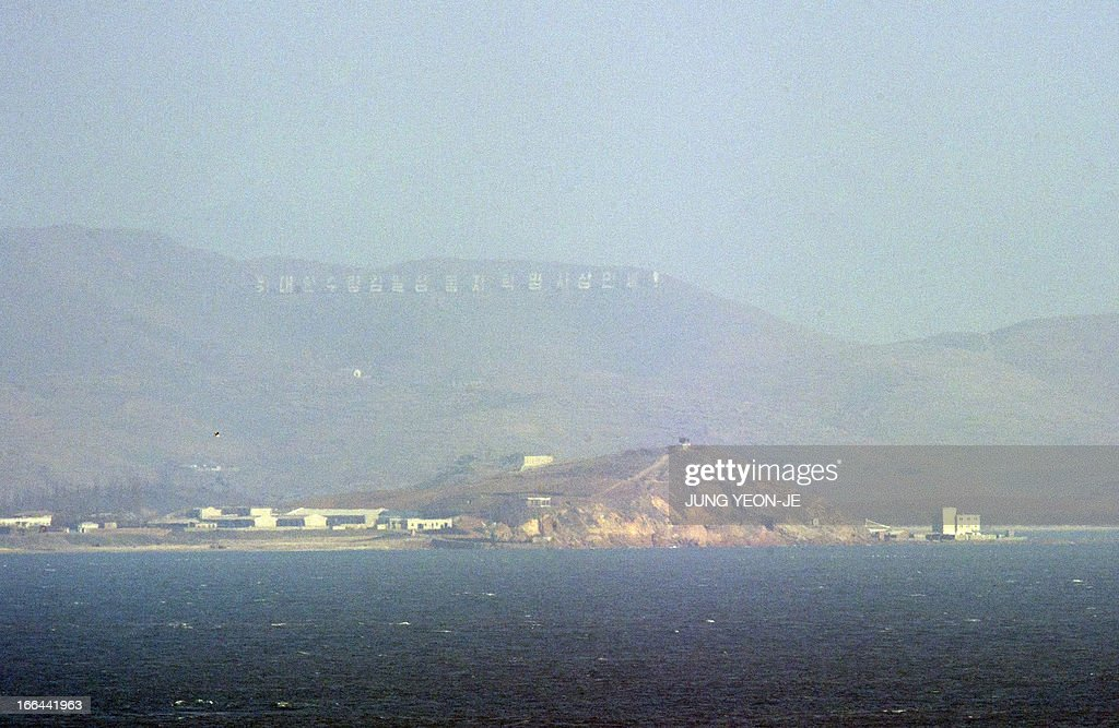 The seafront of North Korean Ongjin county is pictured from South Korean observation post at the South Koreacontrolled island of Yeonpyeong near the...