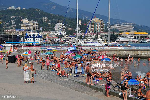 CONTENT] The seafront with wild beach in Yalta city Crimea Ukraine at Aug 15 2010