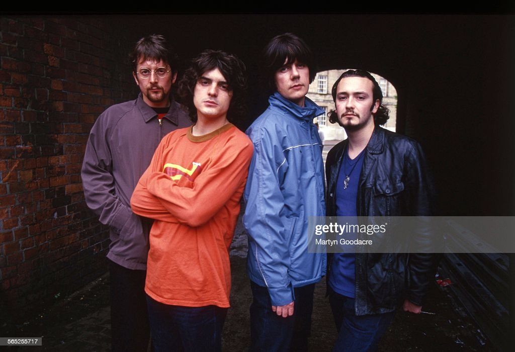 The Seahorses, group portrait, Ireland, 1997. L-R Andy Watts, Chris Helme, John Squire, Stuart Fletcher.