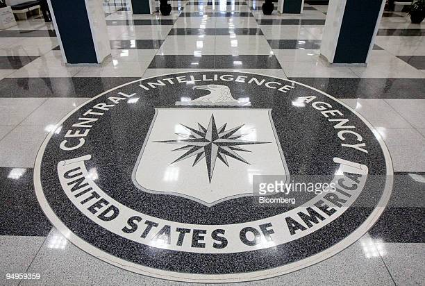 The seal of the Central Intelligence Agency is displayed in the foyer of the original headquarters building in Langley Virginia US on Friday Sept 18...