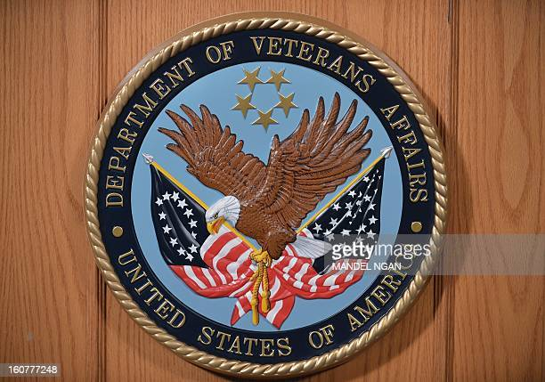 The seal of the Department of Veterans Affairs is seen in an auditorium on February 5 2013 at the Department of Veterans Affairs in Washington AFP...