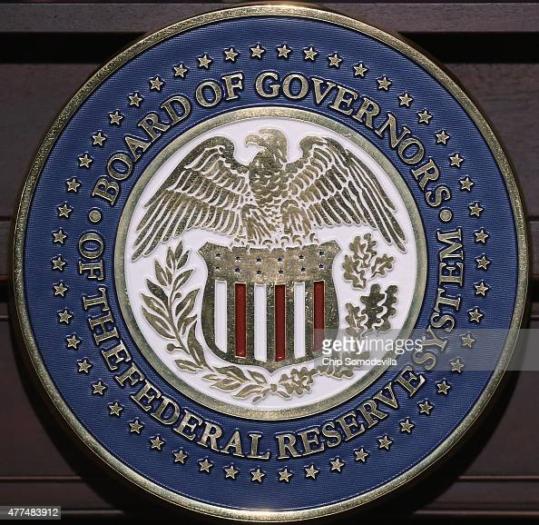 The seal of the Federal Reserve Bank during a news conference with Chair Janet Yellen following a meeting of the the Federal Open Market Committee at...