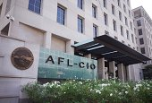The seal of the The American Federation of Labor and Congress of Industrial Organizations is seen infront of its headquarters on August 16 2014 in...