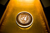 The seal of the United Nations in the General Assembly hall at United Nations headquarters in New York City on September 21 2009 The UN will host...