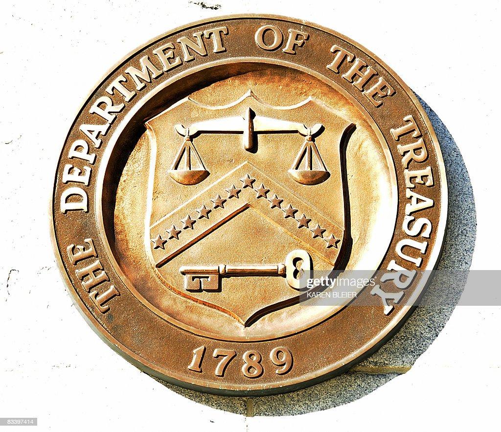The seal of the US Department of Treasury is seen October 23 2008 in Washington DC AFP PHOTO/Karen BLEIER