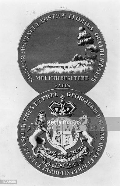 The seal of West Florida showing the lion and unicorn of the British coat of arms on the obverse and a forest landscape on the reverse bearing the...