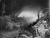 The search for survivors continues into the night after a train crash at Sutton Coldfield in the West Midlands 24th January 1955 The 1215 LMS steam...