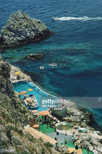 The seaside swimming pool at the Hotel Taormina Sicily August 1975