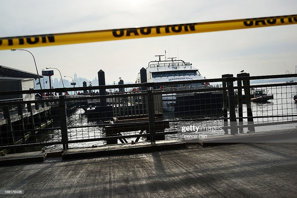 The Seastreak ferry is viewed following an early morning ferry accident during rush hour in Lower Manhattan on January 9, 2013 in New York City. About 50 people were injured in the accident, which left a large gash on the front side of the Seastreak ferry at Pier 11.