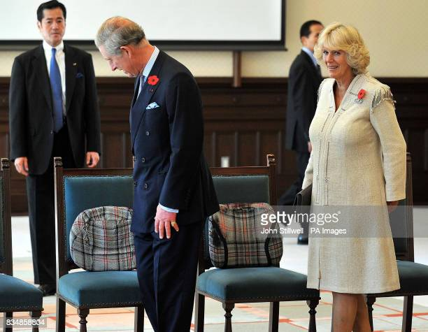 The seat cushions of the Prince of Wales and the Duchess of Cornwall as they arrive for a traditional Japanese Kubuki performance at the Keio...