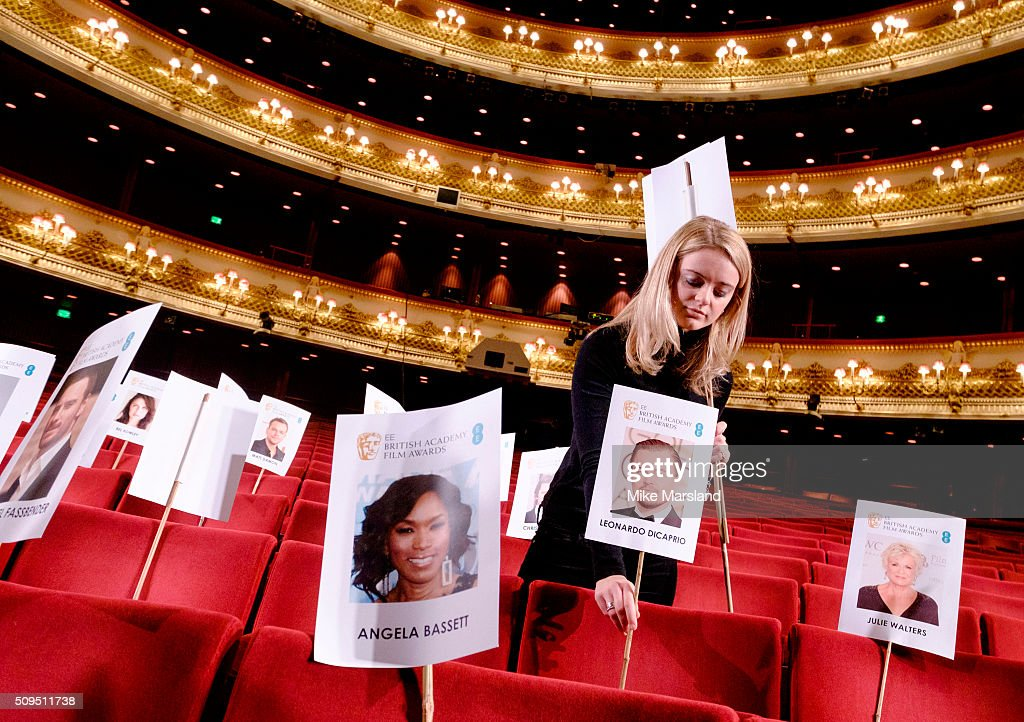 The seat placing during the annual BAFTA heads on sticks photocall at The Royal Opera House on February 11, 2016 in London, United Kingdom. The seating plan is set ahead of the British Academy Film Awards 2016 which takes place on Sunday February 14, 2016