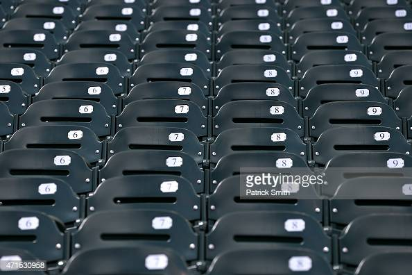 The seats are emtpy before the Baltimore Orioles play the Chicago White Sox at an empty Oriole Park at Camden Yards on April 29 2015 in Baltimore...