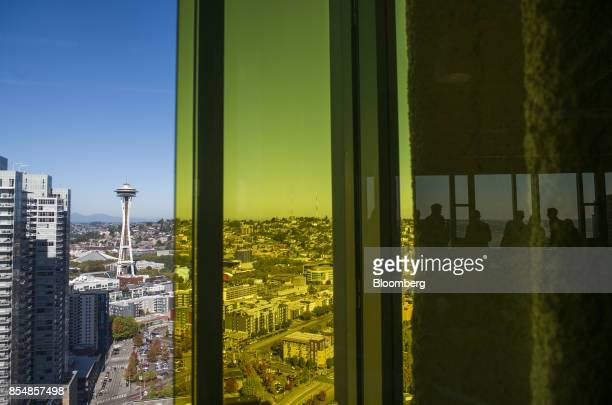 The Seattle Space Needle is seen in the city skyline from the Amazoncom Inc offices after the company's product reveal launch event in downtown...