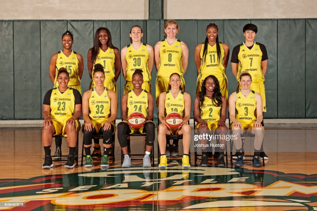 The Seattle Storm pose for their annual team photo on August 29, 2017 at Key Arena in Seattle, Washington.
