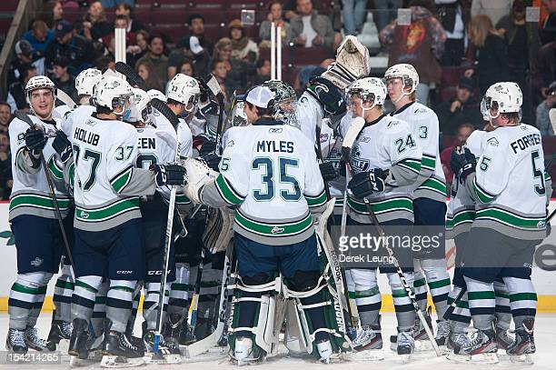 The Seattle Thunderbirds celebrate their victory over the Vancouver Giants in WHL action on October 13 2012 at Pacific Coliseum in Vancouver British...