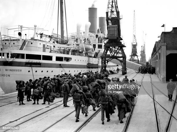 The second contingent of British troops for the United Nations forced in korea sailed from southhamptonaboard the troopship 'Empire Windrush' A group...