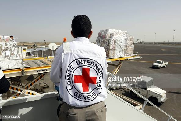 The second plane belonging to the International Committee of the Red Cross carrying humanitarian aid arrives at Sana'a International Airport in...