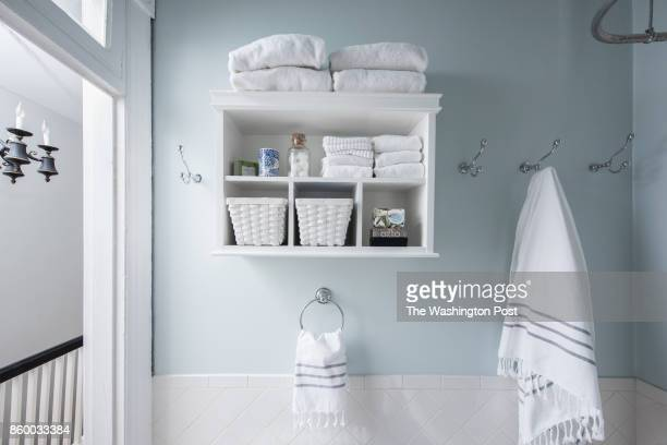 The secondfloor bathroom in the Hoburg family's renovated Capitol Hill rowhouse on July 26 2017 A Washington family makes a modest 100yearold three...