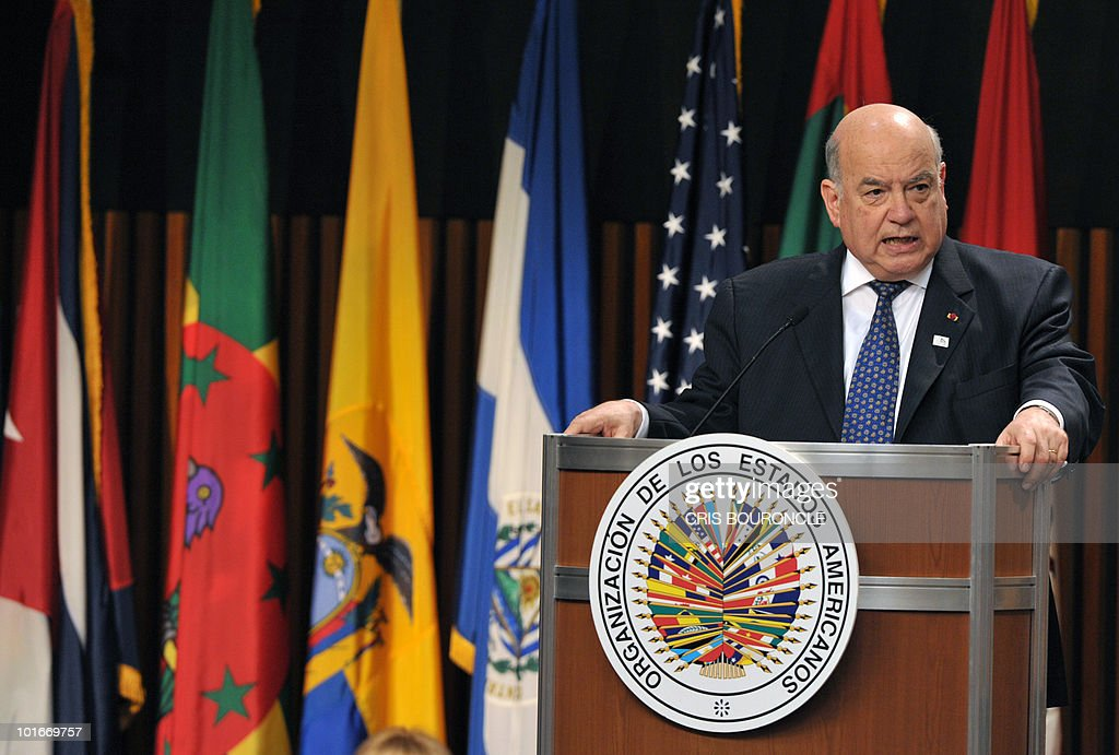 The Secretary General of the Organization of American States (OAS) Jose Miguel Insulza, delivers the opening speech during the inauguration of the 40th OAS General Assembly held at the National Museum in Lima on June 6, 2010. Ministers and representatives of the 33 member countries will meet for three days under the topic 'Peace, Security and Cooperation of the Americas'.
