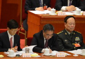 The secretary of Central Politics and Law Commission Meng Jianzhu Communist Party secretary of Guangdong province Hu Chunhua and Vice Chairman of the...