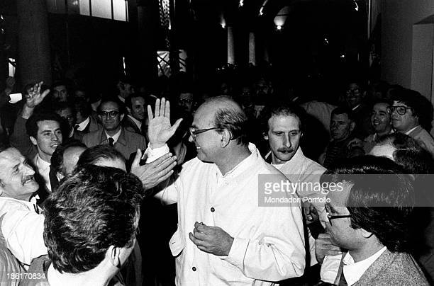 The secretary of Italian Socialist Party Bettino Craxi greeting some backers after an electoral meeting Milan 28th May 1983