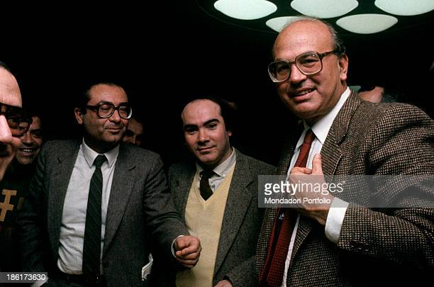 The secretary of Italian Socialist Party Bettino Craxi smiling surrounded by his backers during a meeting of the party Parma 16th January 1983