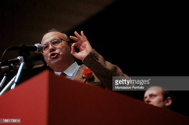 The secretary of Italian Socialist Party Bettino Craxi speaking at the meeting of his party Parma 16th January 1983