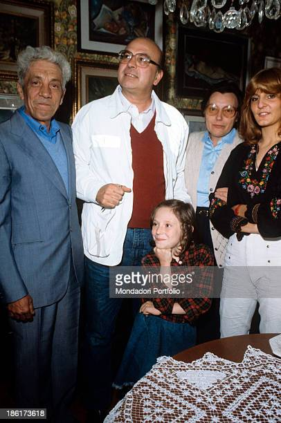 The secretary of Italian Socialist Party Bettino Craxi visiting a family of backers in the Gratosoglio neighbourhood Milan 1983