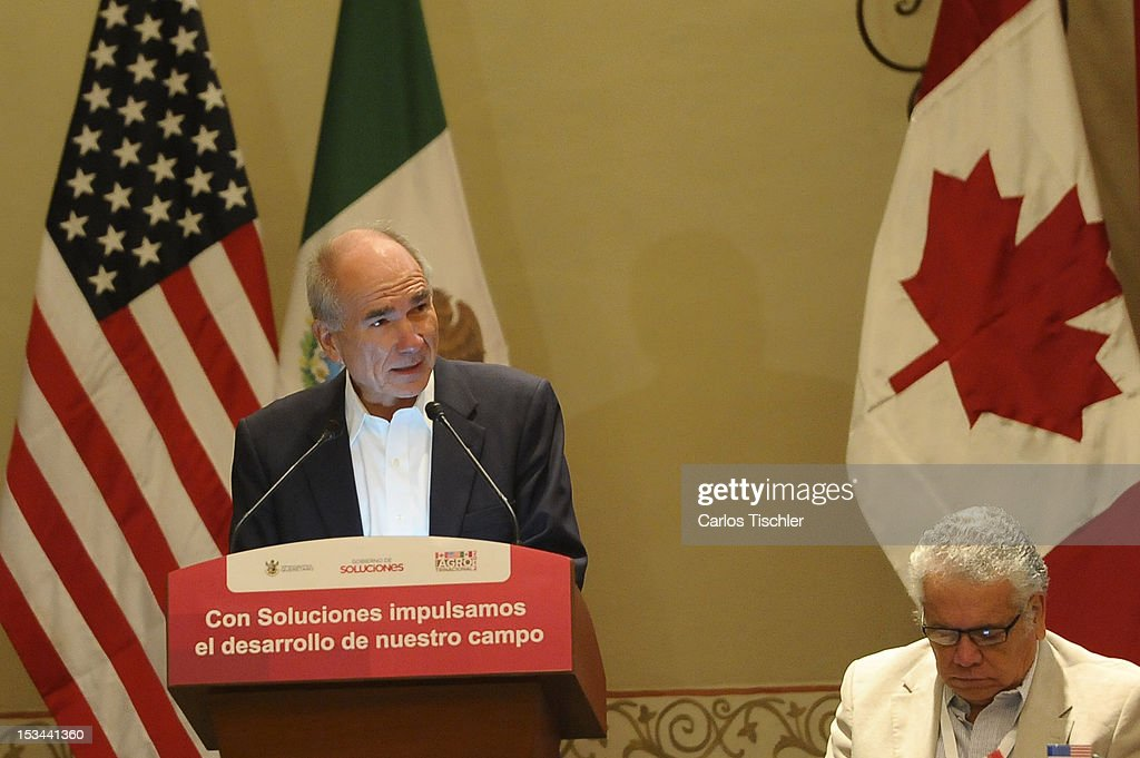 The Secretary of SAGARPA, Francisco Mayorga Castañeda, speaks during the inauguration of the 2012 Tri-National Agricultural Agreement, which seeks to increase the commercialization of products between Canada, United States and Mexico, on October 03, 2012 in Jurica, Queretaro.